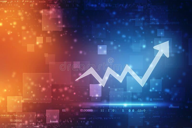 Fundo da tecnologia da transformação digital futurista da carta da seta do aumento, mercado de valores de ação e fundo abstratos  ilustração royalty free