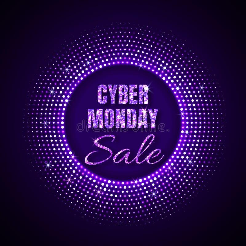 Fundo da tecnologia da venda de segunda-feira do Cyber no estilo de néon com o ornamento de intervalo mínimo de incandescência de ilustração stock