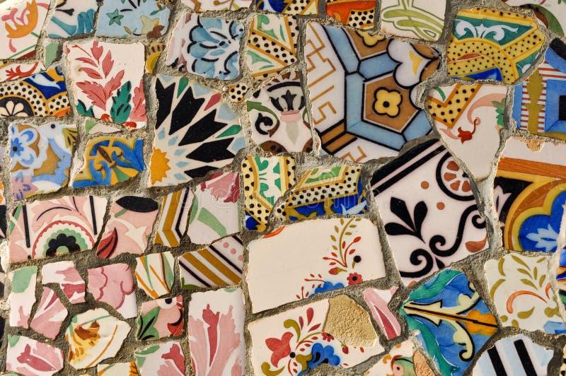 Fundo da telha cerâmica em Barcelona Spain imagem de stock