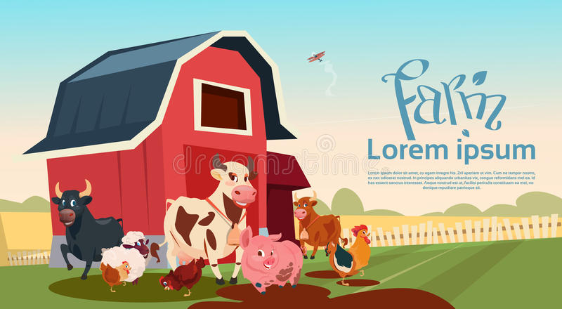 Download Fundo Da Terra Dos Animais De Criação De Animais Da Exploração Agrícola Ilustração do Vetor - Ilustração de animal, torneira: 80101551