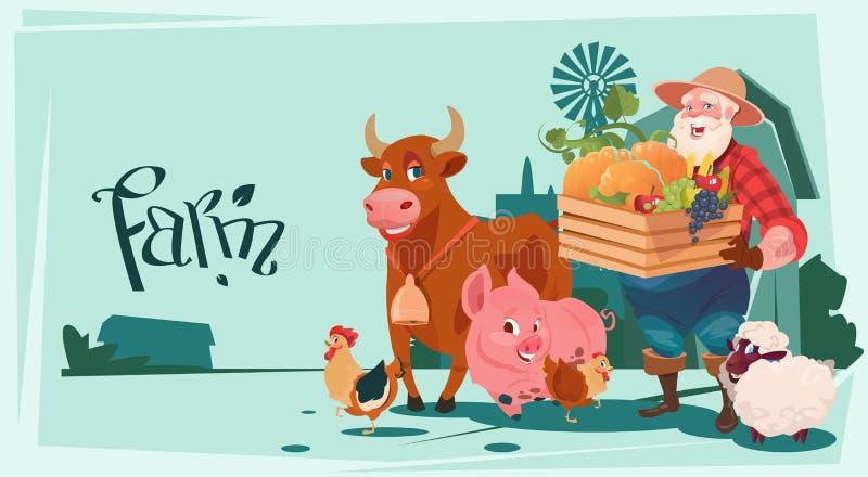 Download Fundo Da Terra Dos Animais De Produção Dos Vegetais De Hold Box With Do Fazendeiro Ilustração do Vetor - Ilustração de alimentação, liso: 80101660