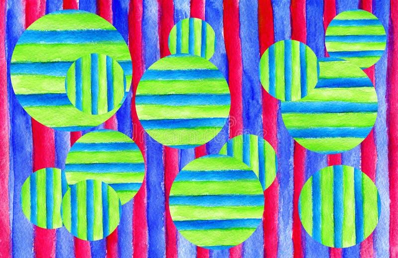 Fundo da textura da aquarela C?rculos e listras coloridos tirados m?o ilustração royalty free