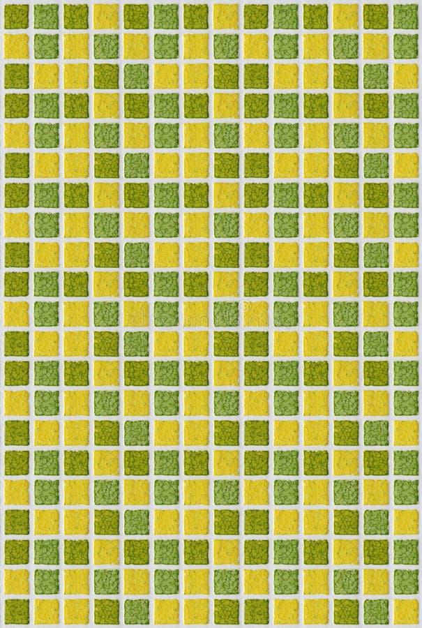 Fundo da textura do amarelo do verde do quadrado do mosaico da telha foto de stock royalty free