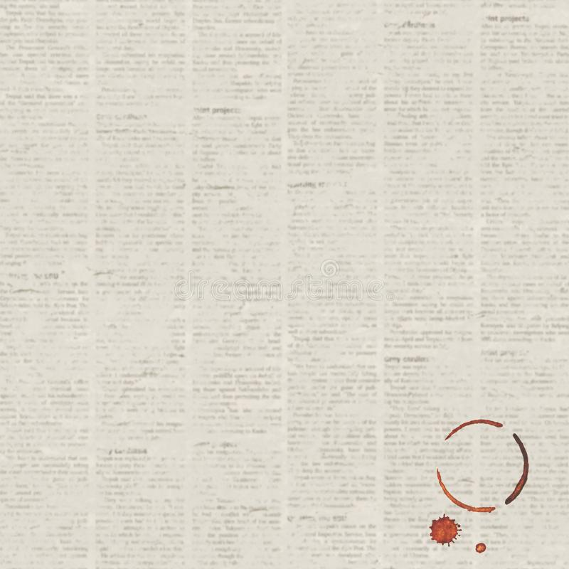 Fundo da textura do jornal do grunge do vintage com traço do copo de café ilustração royalty free