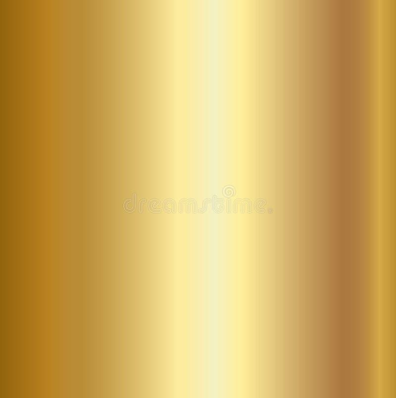 Fundo da textura da folha de ouro Molde dourado realístico do inclinação do metal do vetor ilustração stock