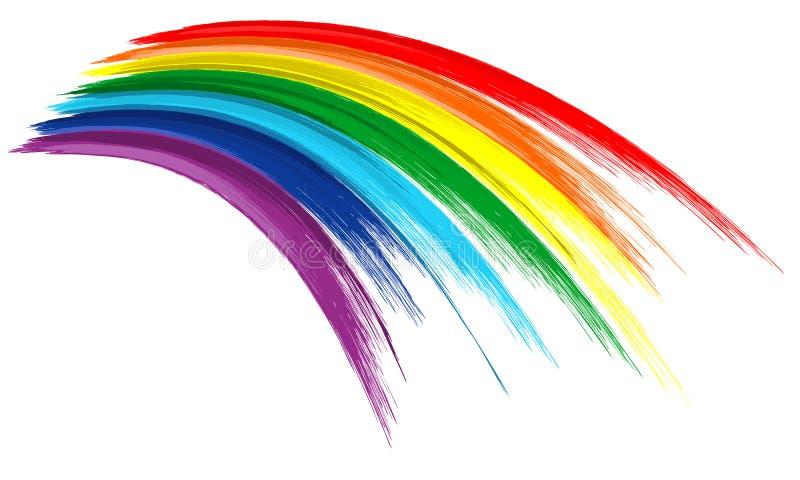 Fundo da tração da pintura do curso da escova da cor do arco-íris da arte ilustração stock
