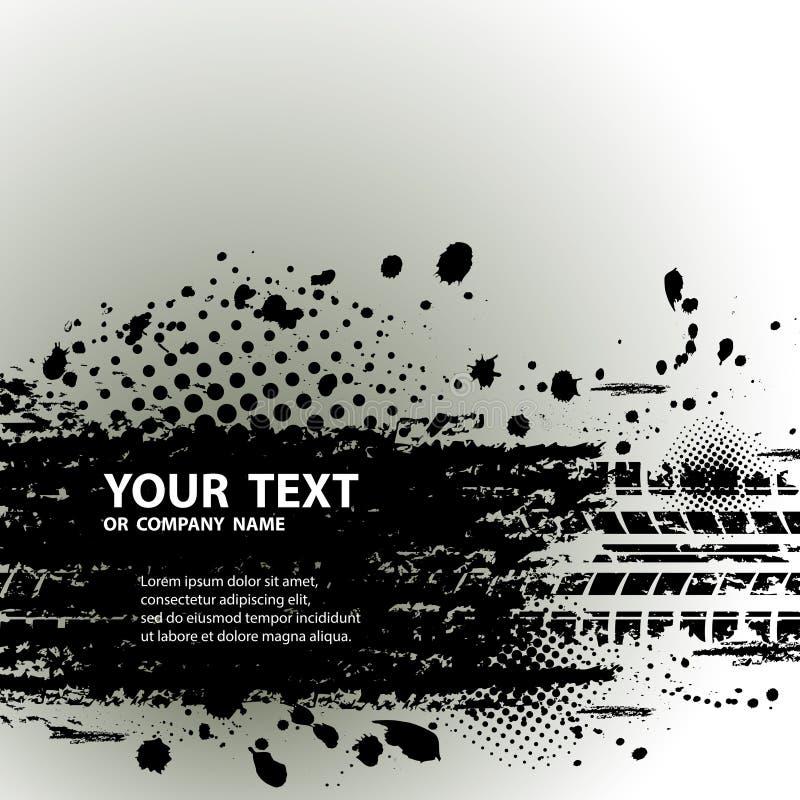 Fundo da trilha do pneu com texto ilustração stock