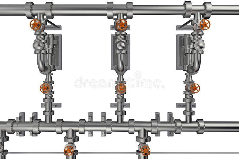 fundo da tubulação com rendição das válvulas 3d ilustração stock