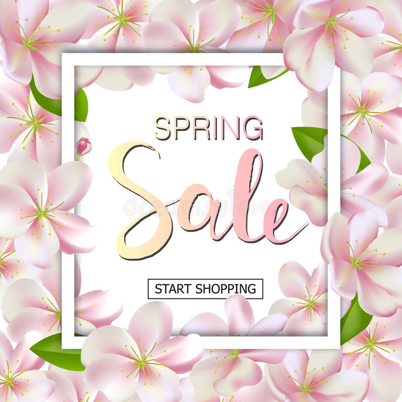 Fundo da venda da mola com flores Projeto da bandeira do disconto da estação com flores de cerejeira e pétalas ilustração stock