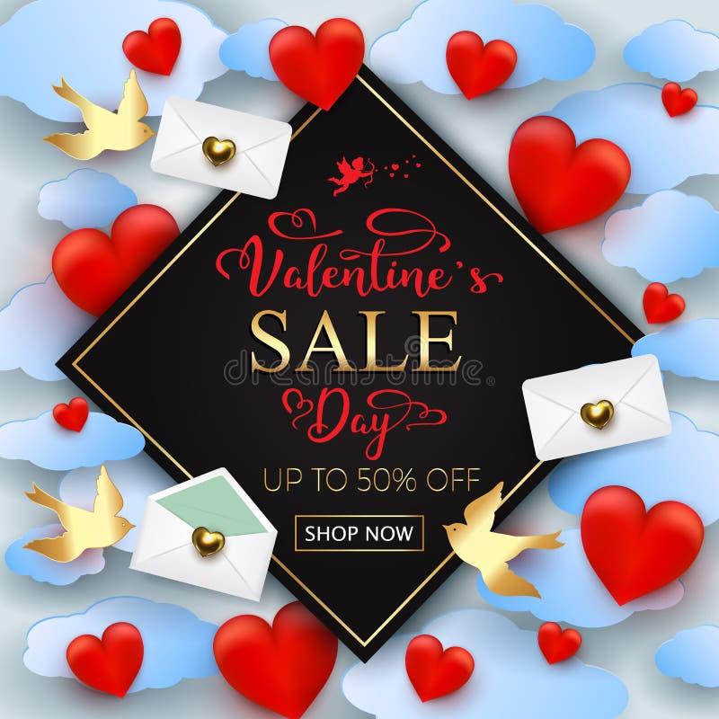Fundo da venda do dia de Valentim com corações, letras, envelopes a ilustração royalty free