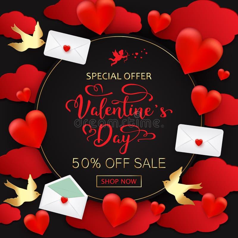 Fundo da venda do dia de Valentim com corações, letras, envelopes a ilustração stock