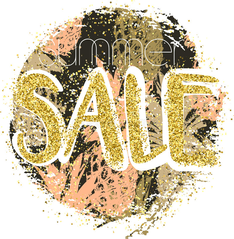 Fundo da venda do ouro com os abacaxis no quadro Fundo da venda do ouro para o inseto, cartaz ilustração royalty free