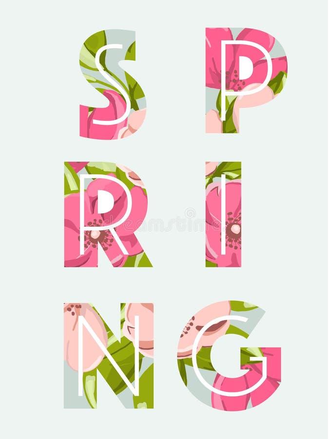 Fundo da venda da mola com a flor e a folha cor-de-rosa bonitas ilustração stock