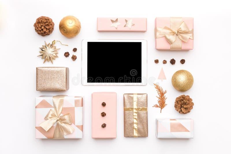 Fundo da venda da São Estêvão Compra em linha, conceito da venda do Natal foto de stock