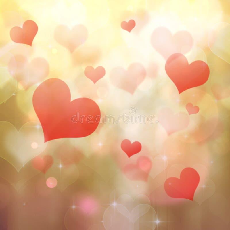 Fundo dado forma coração do bokeh ilustração stock