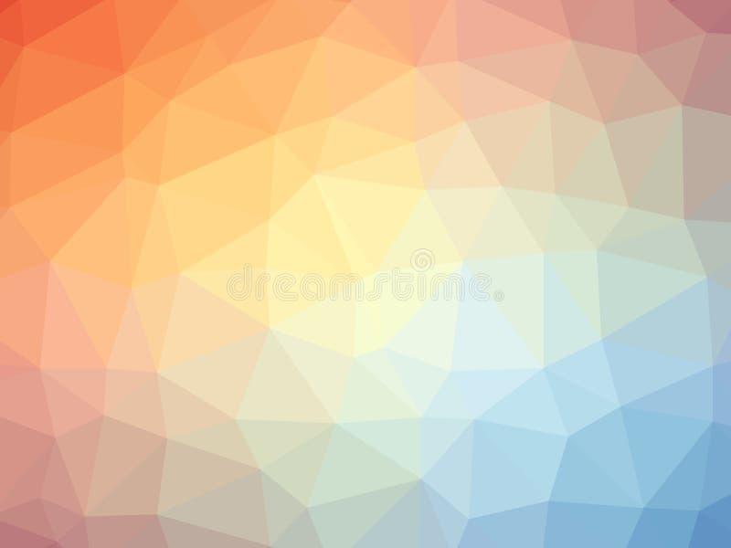 Fundo dado forma do inclinação do arco-íris polígono azul alaranjado ilustração do vetor