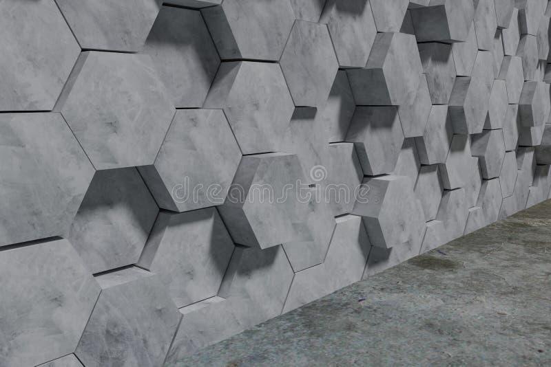 Fundo dado forma hex?gono da parede dos blocos de cimento Opini?o de perspectiva ilustra??o 3D ilustração stock
