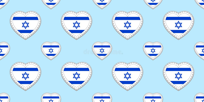 Fundo das bandeiras de Israel Teste padrão sem emenda da bandeira israelita Etiquetas lustrosas vazias do vetor S?mbolos dos cora ilustração stock