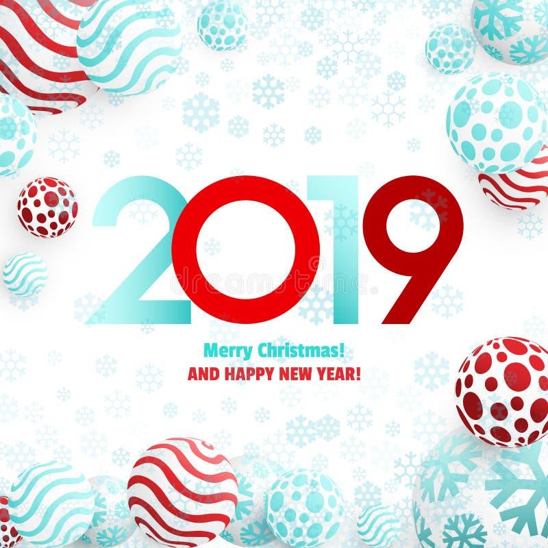Fundo das bolas do Natal com 2019 números do ano novo ilustração do vetor