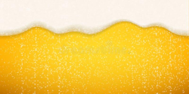 Fundo das bolhas da espuma da cerveja Da espuma realística da cerveja do vetor bolhas efervescentes ilustração do vetor