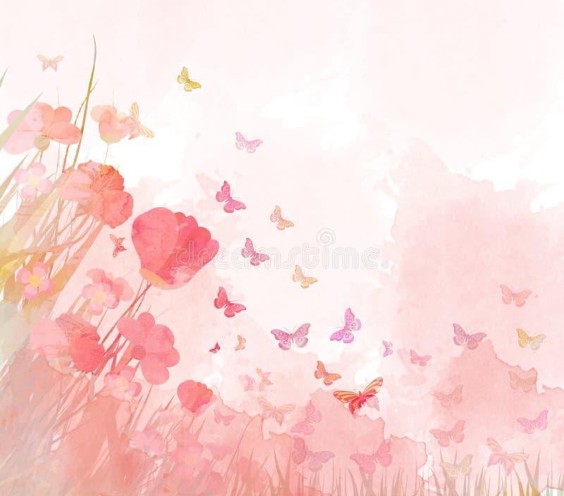 Fundo das borboletas da aquarela
