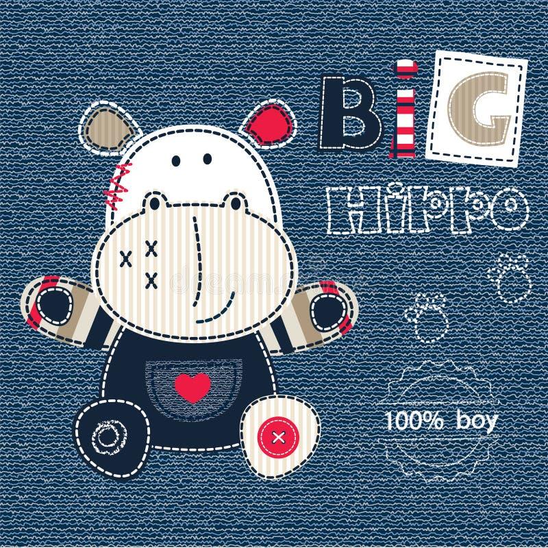 Fundo das calças de brim com hipopótamo dos desenhos animados ilustração do vetor