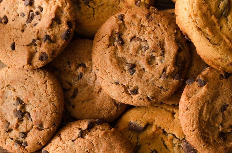 Fundo das cookies do chocolate - vista superior fotografia de stock