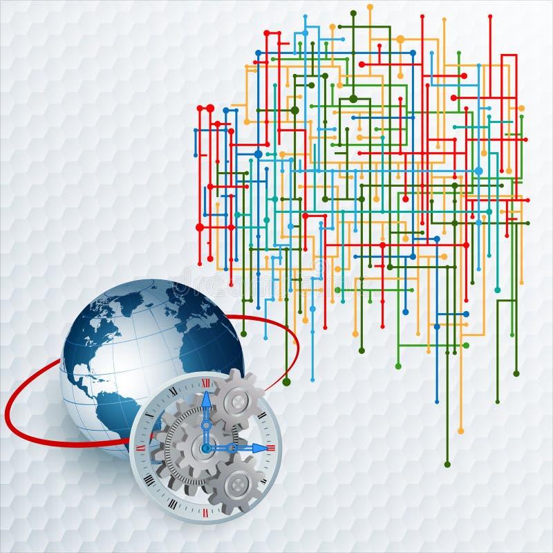 Fundo das dimensões do sumário três com Web tecnologico ilustração do vetor