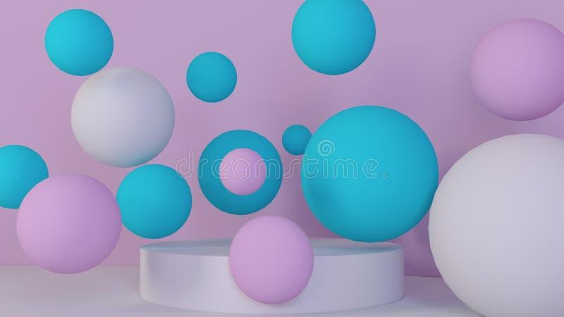 Fundo das esferas Papel de parede abstrato Formas geométricas de voo Ilustração moderna na moda rendição 3d ilustração do vetor