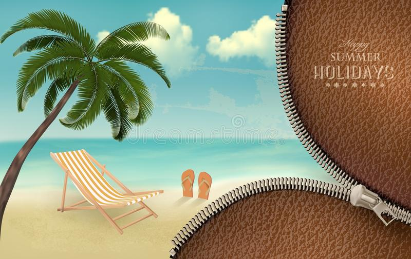 Fundo das férias com um zíper. ilustração stock
