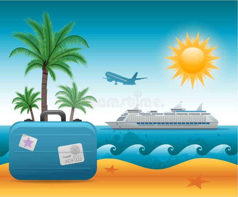 Fundo das férias da praia do verão ilustração royalty free