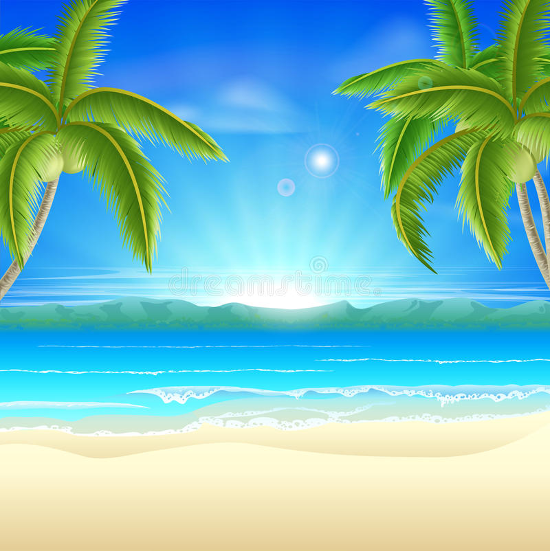 Fundo das férias de verão da praia ilustração do vetor