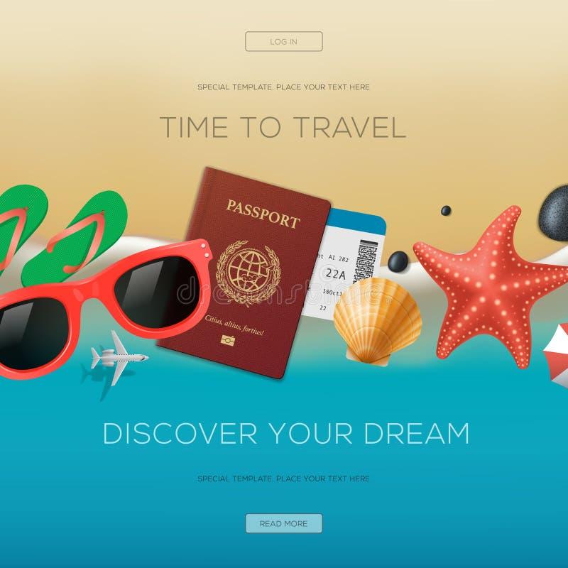 Fundo das férias do verão, hora de viajar ilustração do vetor