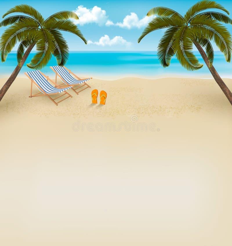 Fundo das férias. Praia com palmeiras e falhanços de aleta. Vecto ilustração stock