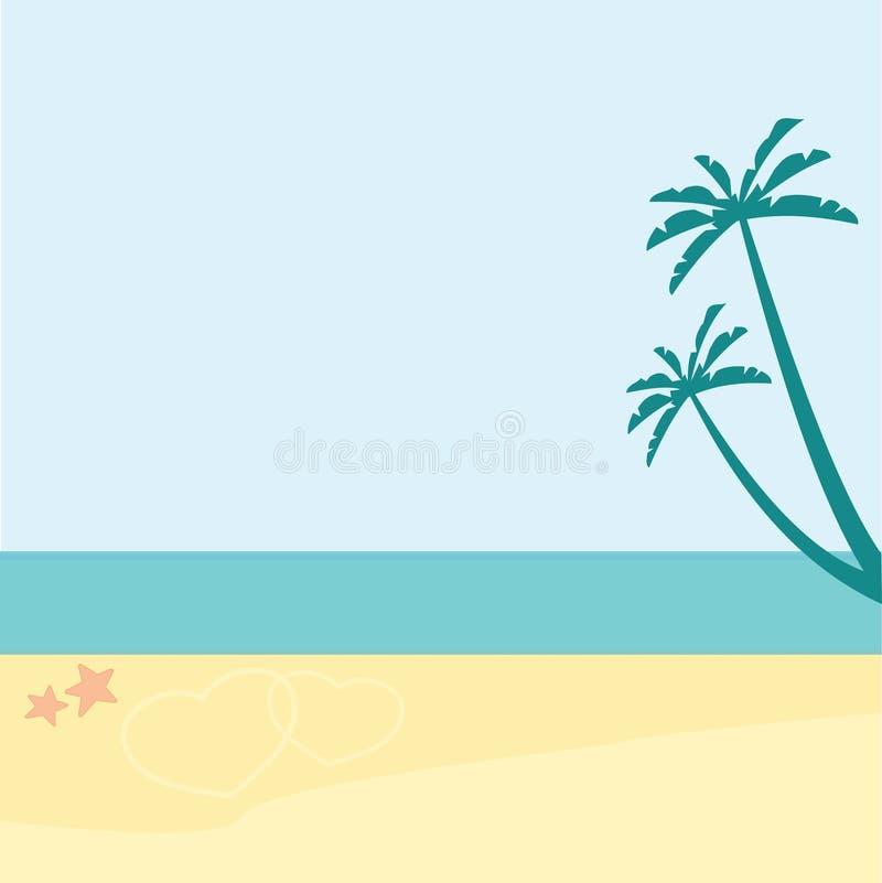 Fundo das férias Praia com palmeiras e o mar azul ilustração stock