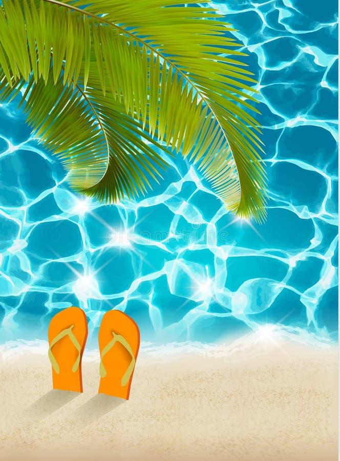 Fundo das férias Praia com palmeiras e o mar azul ilustração royalty free