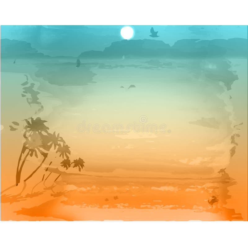 Fundo das férias Praia com palmeiras e o mar azul ilustração do vetor