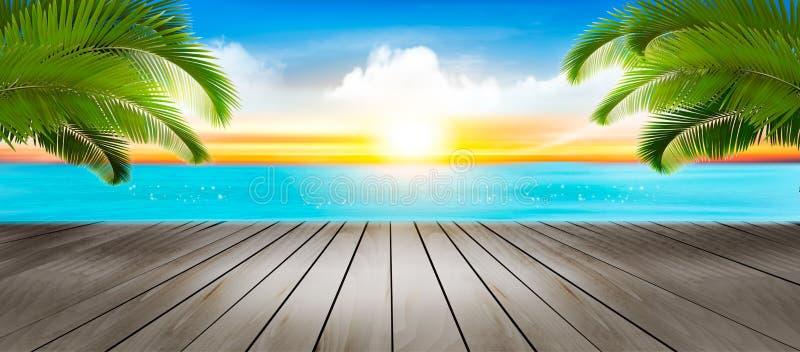 Fundo das f?rias Praia com palmeiras e o mar azul ilustração do vetor