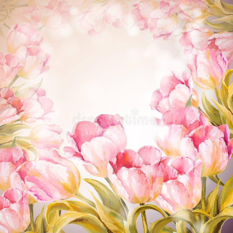 Fundo das flores das tulipas. ilustração do vetor