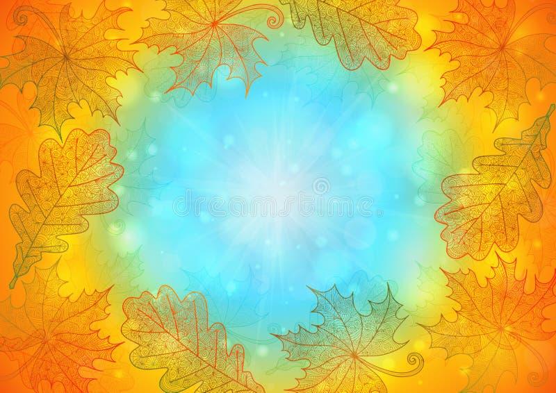 Fundo das folhas de outono no estilo da garatuja ilustração royalty free