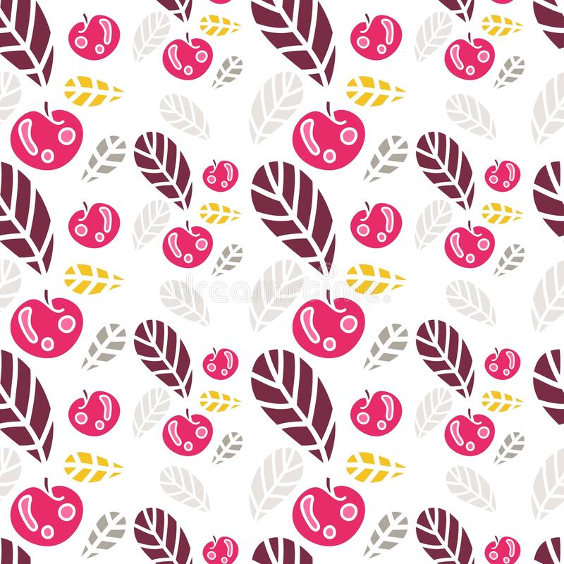 Fundo das folhas e de maçãs coloridas Teste padrão sem emenda retro bonito ilustração do vetor