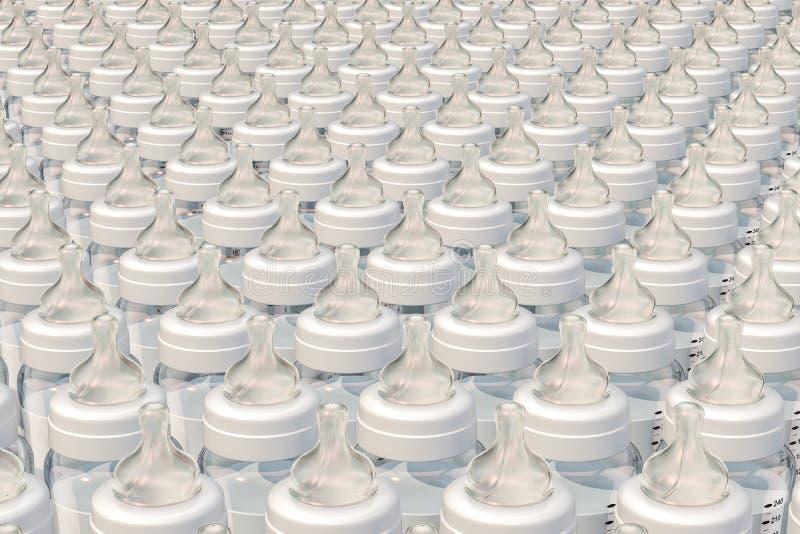 Fundo das garrafas de bebê, 3D ilustração royalty free