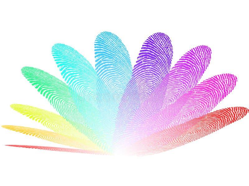 Fundo das impressões digitais coloridas, o branco e o transparente ilustração stock