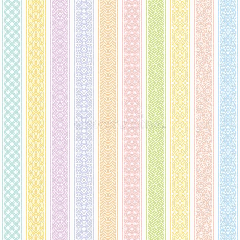Fundo das listras verticais com projeto tradicional japonês ilustração royalty free