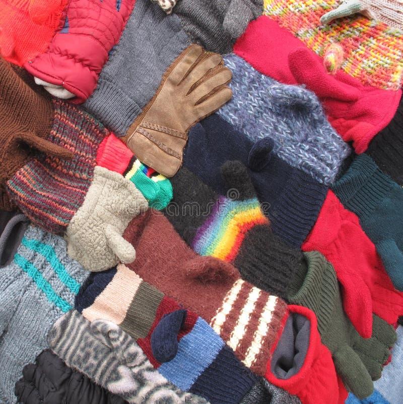 Fundo das luvas e dos mittens do inverno. fotografia de stock royalty free