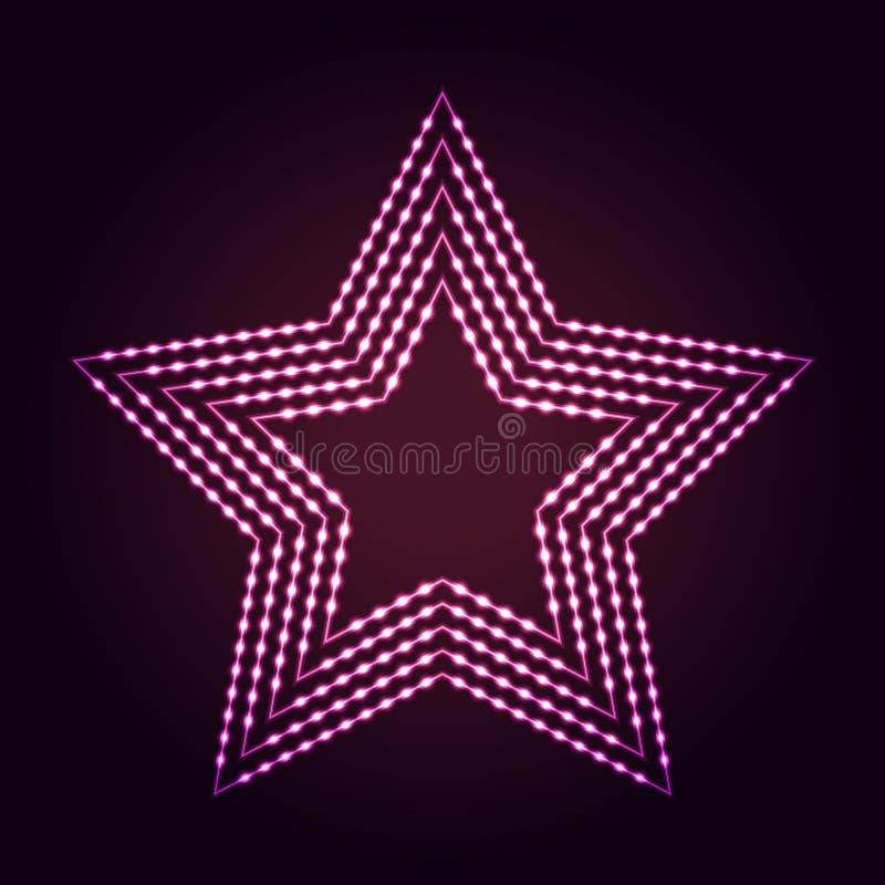 Fundo das luzes de néon do sumário da forma da estrela ilustração do vetor