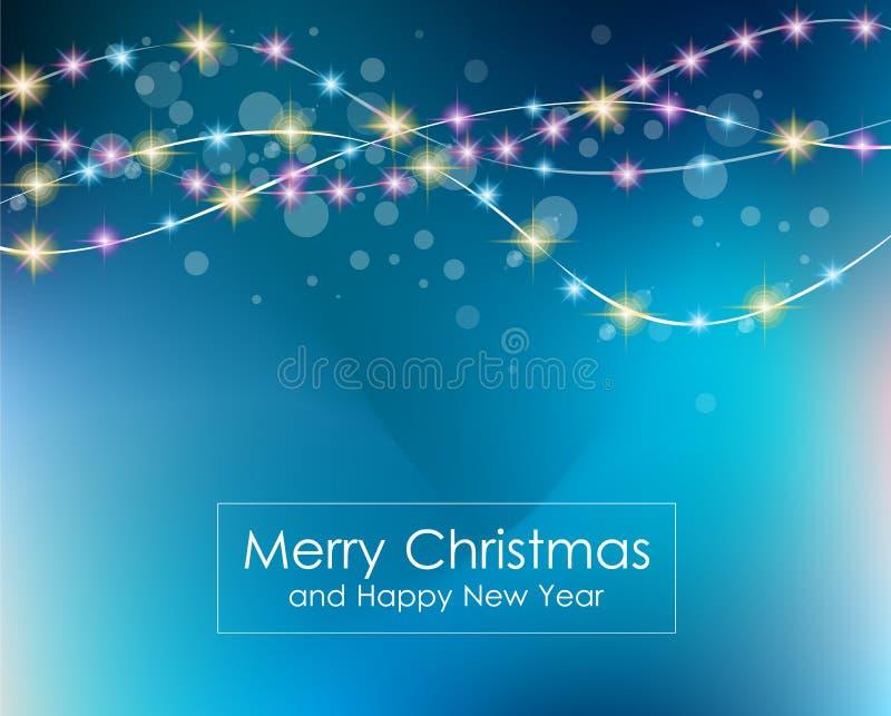 Fundo das luzes de Natal para seus papéis de parede sazonais, ilustração royalty free