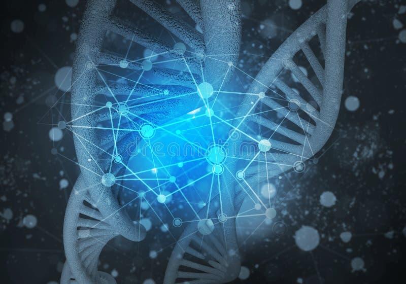 Fundo das moléculas do ADN, rendição 3D ilustração do vetor