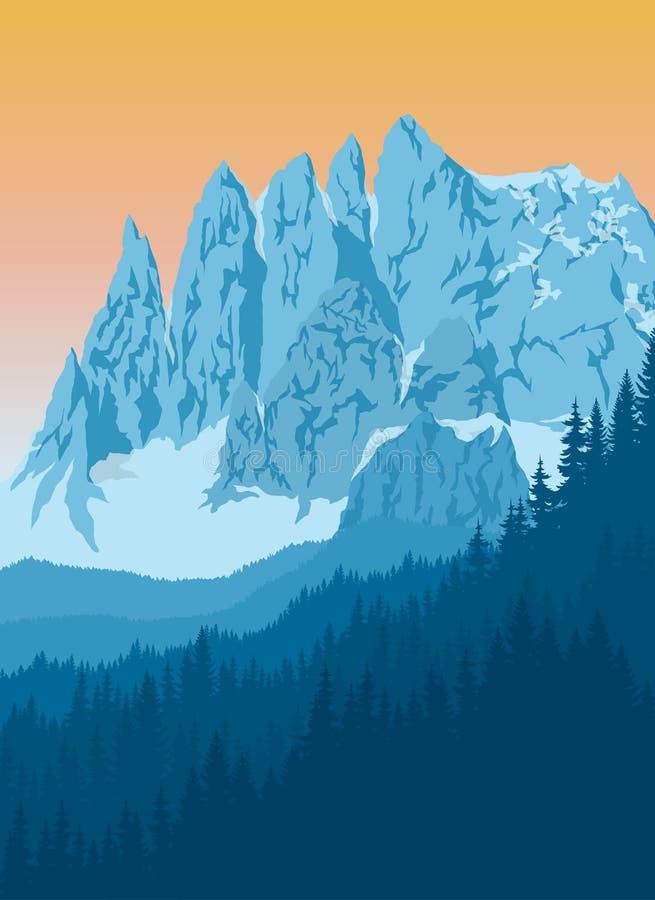 Fundo das montanhas dos cumes do vetor com rochas azuis ilustração stock
