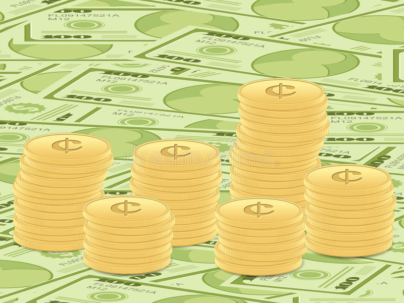 Fundo das notas de banco e das moedas do dólar ilustração stock